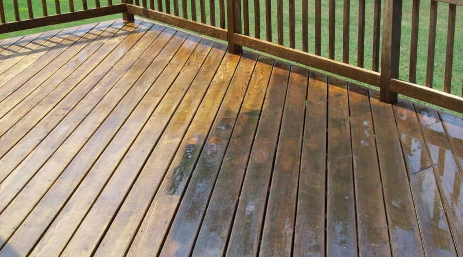Pressure washing a wood deck in Buffalo NY
